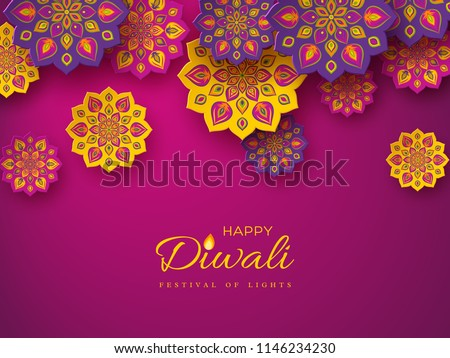 Diwali festival holiday design with paper cut style of Indian Rangoli. Purple color background. Vector illustration. - Shutterstock ID 1146234230