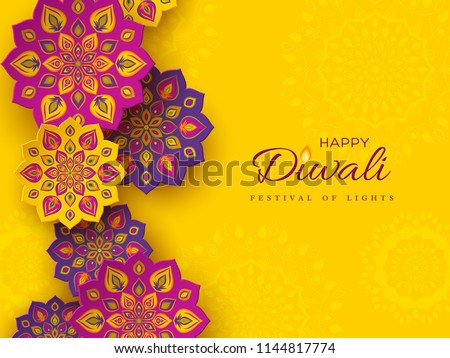 Diwali festival holiday design with paper cut style of Indian Rangoli. Purple color on yellow background. Vector illustration. - Shutterstock ID 1144817774