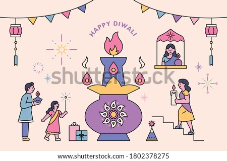 Diwali festival in India. People are enjoying the festival around the beautiful lamps. flat design style minimal vector illustration.