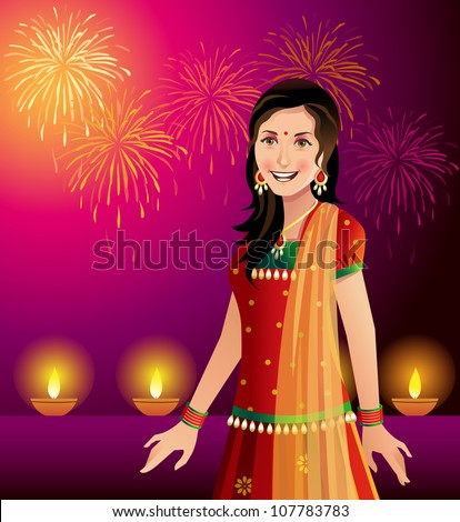 Diwali - festival of lights and an Indian woman in traditional outfit