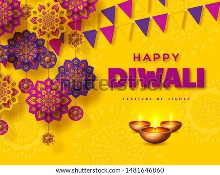 Diwali festival of lights typographic design with paper cut Indian Rangoli, bunting flags and diya - oil lamp. Purple color on yellow background. Vector illustration.