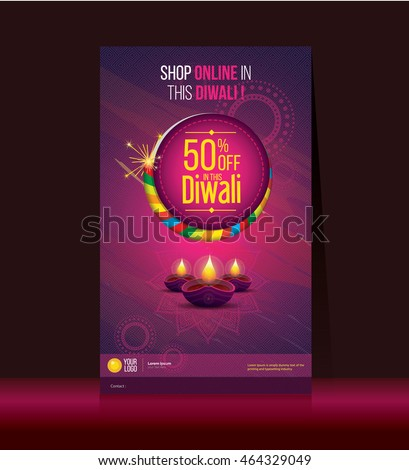 stock-vector-diwali-festival-offer-poster-design-template-with-creative-lamps