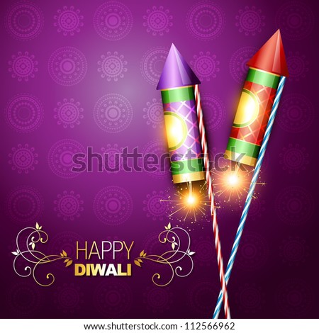 diwali festival rocket cracker on artistic background