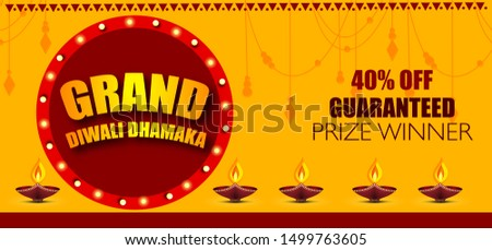 Diwali Festival Sale Design Template with 40% Discount Tag and Creative Lamps, Floral Ornament, Abstract Background - Diwali Offer Modern Flyer Design Template