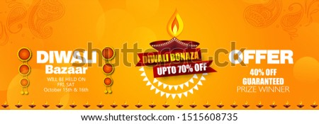 Diwali Festival Sale Design Template with Discount Tag and Creative Lamps, Floral Ornament, Abstract Background - Diwali Offer Modern Flyer Design Template