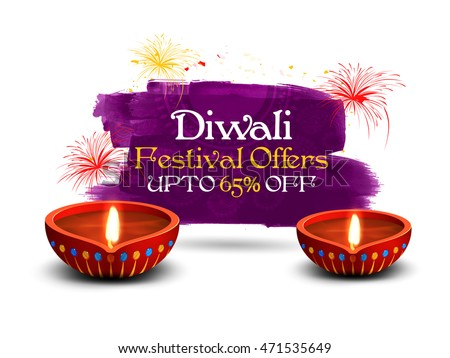 Diwali Festival Sale Poster, Bumper Dhamaka Sale Banner, Clearance Offer Flyer, Discount Upto 65% Off, Vector illustration with Illuminated Oil Lit Lamp for Festival of Lights.