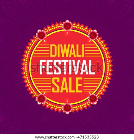 Diwali Festival Sale, Sticker, Tag or Label with Lit Lamps, Bumper Dhamaka Offer, Special Clearance Sale - Vector Illustration Useable for Poster, Banner or Flyer.