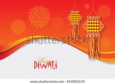 Diwali Festival Template Design With Creative Hanging Lamp
