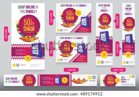 Diwali Festival Website Banner Design Template with 50% Discount and Different Sizes