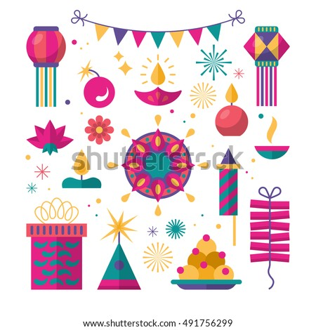 Diwali Hindu festival flat modern elements for graphic and web design. on white background