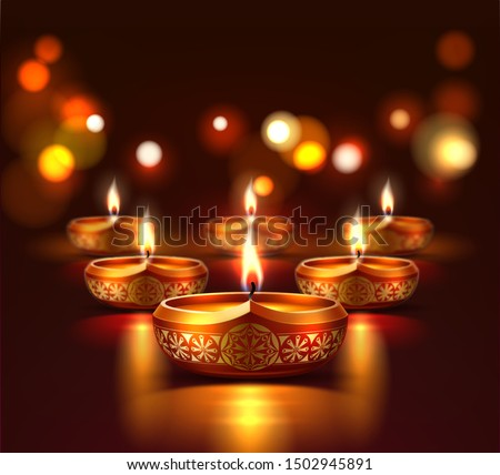 Diwali holiday poster with realistic glowing diya candles. Traditional hindu festival, indian religious holiday. Vector spiritual festival of india, advertising poster template.