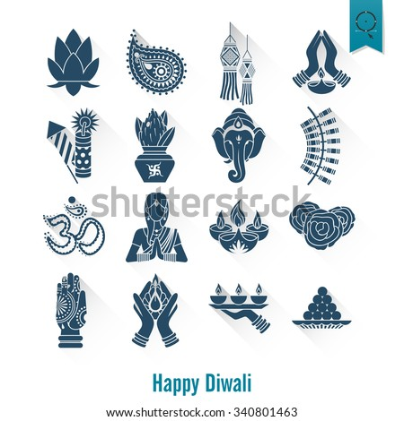 diwali indian festival icons