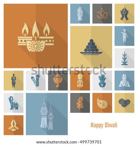 diwali indian festival icons