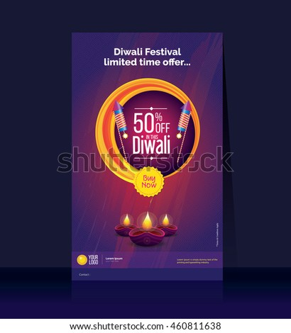 Diwali Offer Poster Design Template, Legal Size