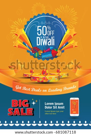 Diwali Sale Template Design with 50% Discount Tag #681087118