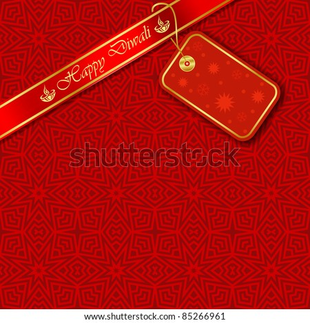 Diwali Tag on Decorative Background (EPS10 Vector)