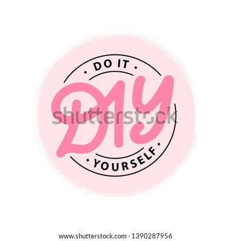 DIY do it yourself. Lettering abbreviation logo circle stamp. Vector illustration. Round Template for print design label, badge rubber seal stamp on white background. Pink color