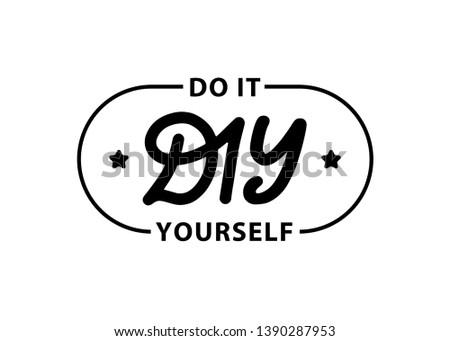 DIY do it yourself. Lettering abbreviation logo stamp. Vector illustration. Template for print design label, badge rubber seal stamp on white background