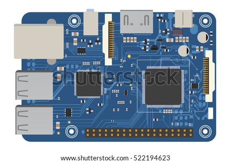 DIY electronic mega board with a microprocessor, interfaces, LEDs, connectors, and other electronic components, to form the basic of smart home, robotic, and many other projects related to electronics