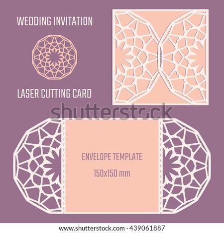 DIY laser cutting vector envelope. Wedding die cut invitation template. Cutout silhouette card.