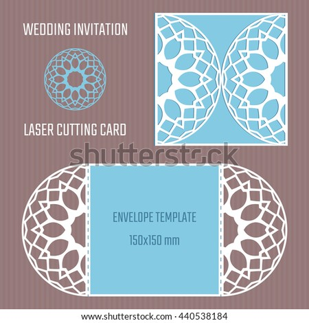 DIY laser cutting vector envelope. Wedding die cut invitation template. Paper cutting.