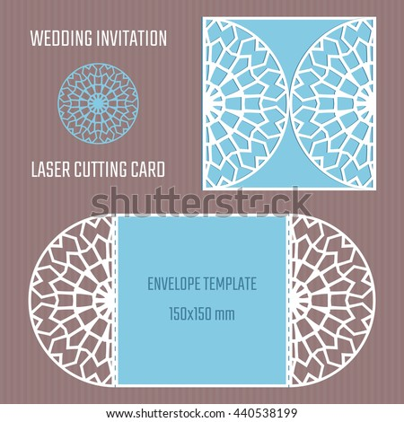 DIY laser cutting vector envelope. Wedding die cut invitation template. Paper cutting.