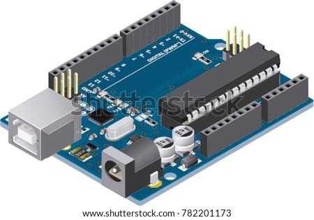 DIY Micro-controller Electronic Board Isometric View