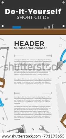 Shutterstock puzzlepix diy or home tools store brochure design vector illustration for your ideas flyer with flat design icons template design easy editing solutioingenieria Images