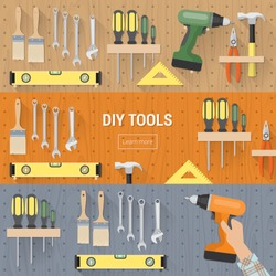 DIY tools for carpentry and home renovation hanging on a pegboard, banners set