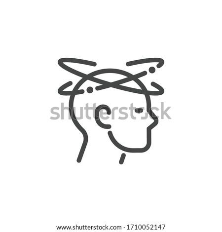 Dizziness outline icon. Graphic pictogram of man with vertigo symptom of migraines, high blood presure, colds, flu, coronavirus, stress, weariness. Vector illustration isolated.
