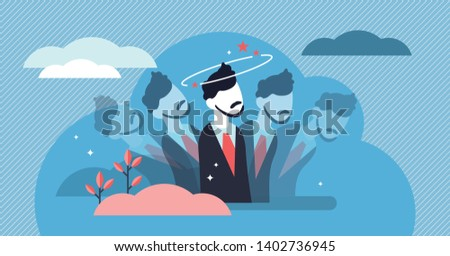 Dizziness vector illustration. Flat tiny dizzy head feeling person concept. Confusion motion, abstract impairment in spatial perception and stability. Drunk lightheadedness problem disease and illness Foto stock ©