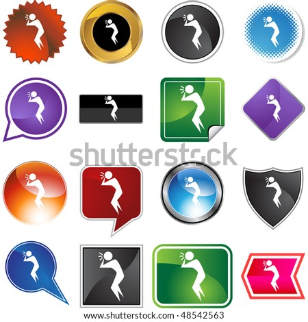 Dizzy figure web button isolated on a background