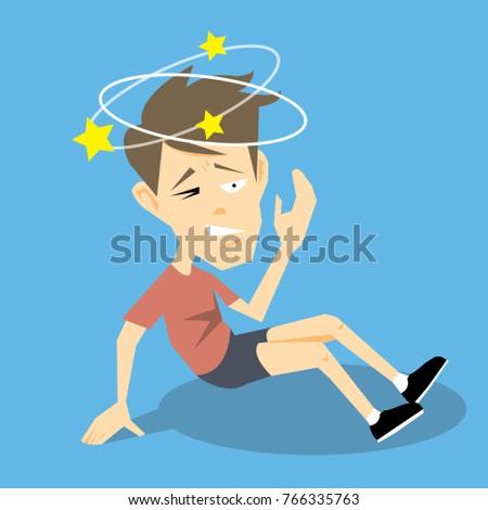 Dizzy man falling down-vector cartoon