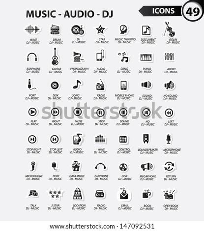 Dj and music icon set,Black version