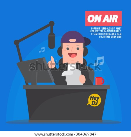 Dj at radio station - Disc jockey - vector