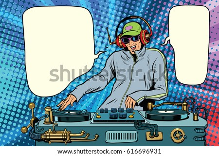 DJ boy party mix music. Pop art retro vector illustration