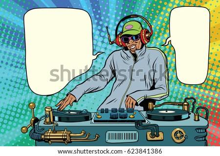 DJ boy party mix music. Pop art retro vector illustration. African American people