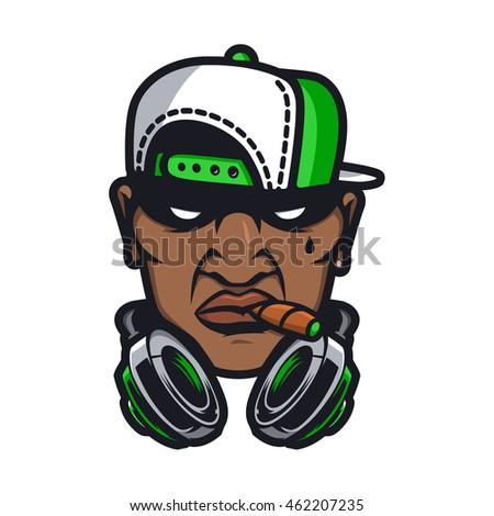 dj character in cartoon vector