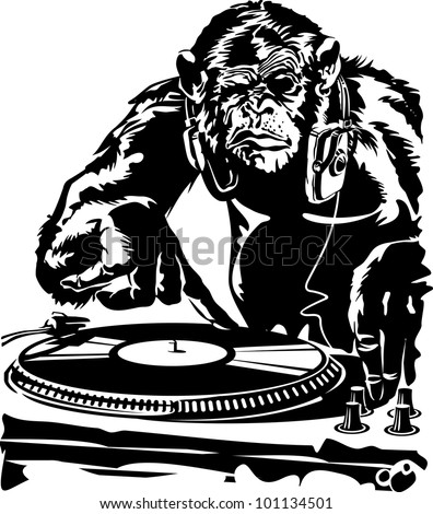 DJ chimpanzee grimaces. vector