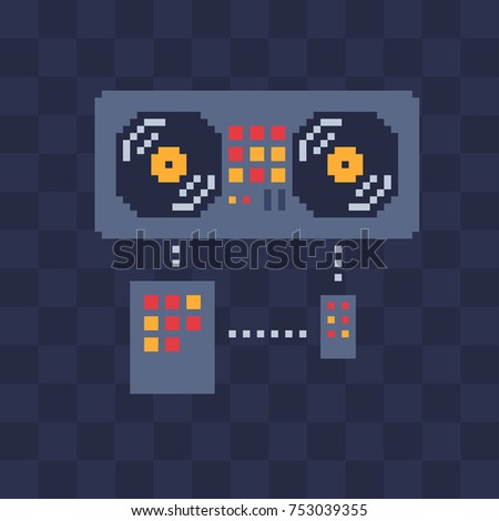 DJ console. Music icon. Pixel art. Isolated vector illustration. Retro video game sprite. Old school computer graphic style.
