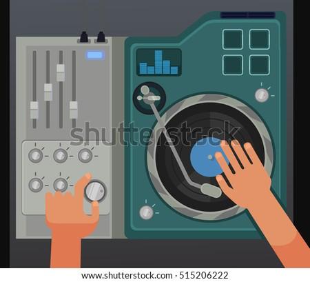 dj controller mixer with hands
