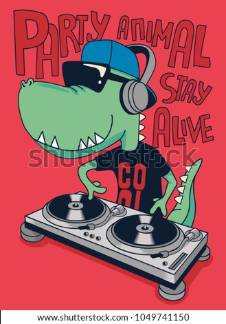 dj crocodile vector design
