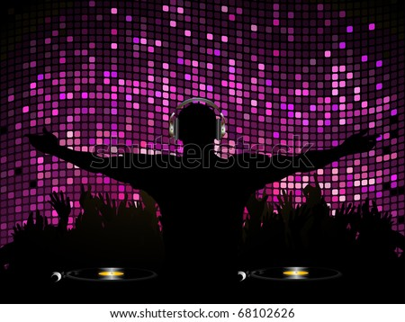 DJ entertaining crowd on a purple mosaic background