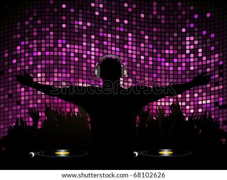 DJ entertaining crowd on a purple mosaic background