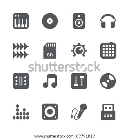 DJ Equipment minimalistic icons set