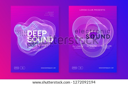 Dj event. Dynamic gradient shape and line. Digital show cover set. Dj event neon flyer. Techno trance party. Electro dance music. Electronic sound. Club fest poster.