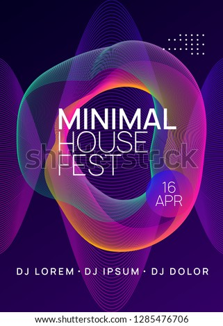 Dj event. Minimal discotheque brochure template. Dynamic gradient shape and line. Dj event neon flyer. Techno trance party. Electro dance music. Electronic sound. Club fest poster.