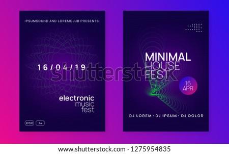 Dj flyer. Energy show brochure set. Dynamic gradient shape and line. Neon dj flyer. Electro dance music. Electronic sound event. Club fest poster. Techno trance party.