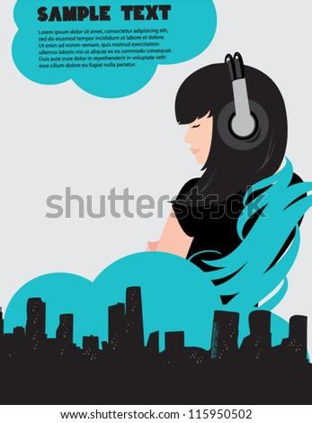 Dj girl and music poster