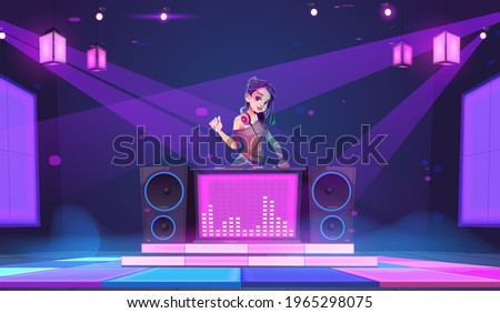dj girl stand at turntable in
